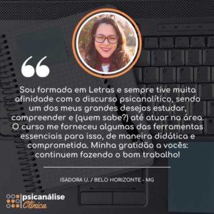 Isadora Belo Horizonte BH Depoimento aluna curso psicanálise