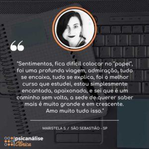 Maristela São Sebastião SP Depoimento Curso
