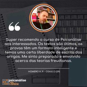 Depoimento Curso Formação em Psicanálise Clínica - Homero - Osasco SP