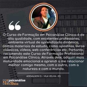 Depoimento Psicanálise Clínica Curso - Vila Velha ES - Ademilson