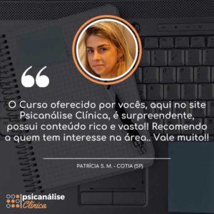 Psicanálise Clínica Depoimento do Curso - Cotia SP - Patrícia