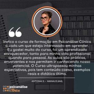 Curso Psicanálise Manaus Depoimento de Antonia